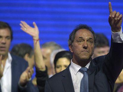 Daniel Scioli no momento da vitória