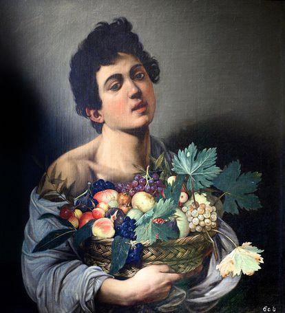 Caravaggio, 'Menino com cesta de frutas' (1593). Está na Galeria Borghese (Roma, Itália).