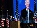 Joe Biden, candidato presidencial demócrata, habla durante un evento de la noche electoral en Wilmington, Delaware, EE UU.