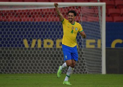 Marquinhos comemora gol marcado contra a Venezuela.