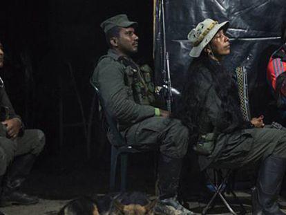 Guerrilheiros das FARC reunidos em um barracão.