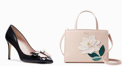 Um sapato e uma bolsa da última coleção de Kate Spade.