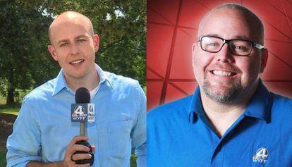 O apresentador McCormick e o cinegrafista Smeltzer.