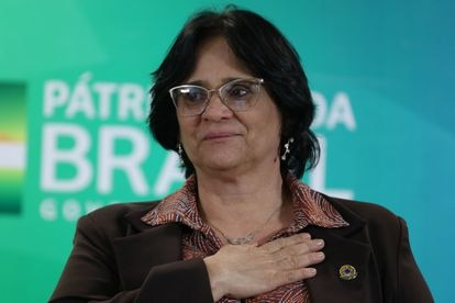A ministra da Mulher, da Família e dos Direitos Humanos, Damares Alves, em cerimônia em Brasília 20 de novembro de 2019