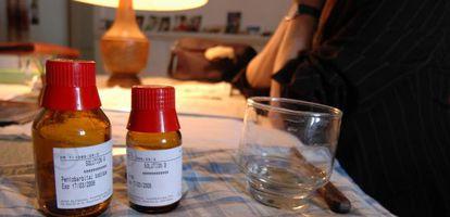 Medicamentos para um suicídio assistido em uma clínica de Zurique (Suíça).