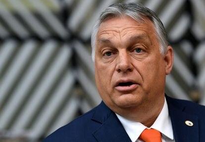 O primeiro-ministro húngaro, Viktor Orbán, durante a cúpula da União Europeia em Bruxelas, em 24 de junho.