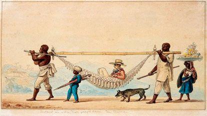 Ilustração de Jean-Baptiste Debret mostra lugares do branco e do negro no Brasil do século 19.