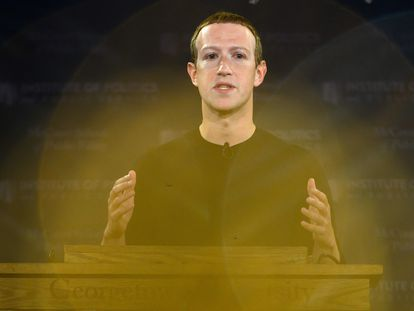 Mark Zuckerberg numa entrevista coletiva na Universidade Georgetown, em Washington, em 2019.