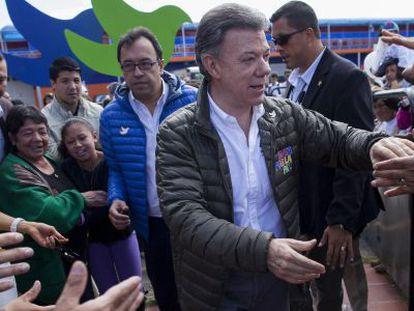 Juan Manuel Santos em um comício eleitoral no domingo, em Bogotá.