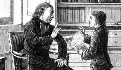 O abade Charles Michel de l'Épée ensina linguagem de gestos a um surdo-mudo.