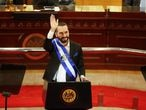 El Salvador's President Nayib Bukele waves after delivering a speech to the country to mark his second year in office, in San Salvador June 1, 2021. REUTERS/Jose Cabezas
