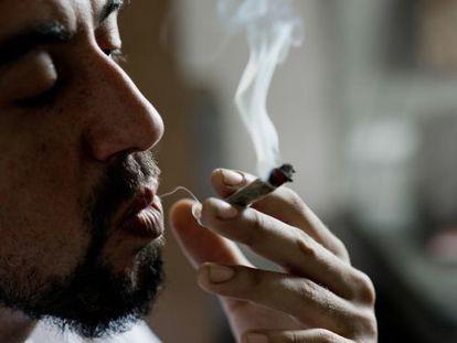 Um cultivador de maconha fuma em Montevidéu.