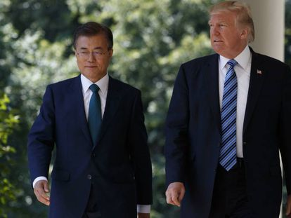 Trump com o presidente da Coreia do Sul