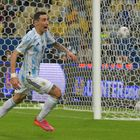 Argentina's Angel Di Maria celebrates after scoring against Brazil during their Conmebol 2021 Copa America football tournament final match at Maracana Stadium in Rio de Janeiro, Brazil, on July 10, 2021. (Photo by NELSON ALMEIDA / AFP)