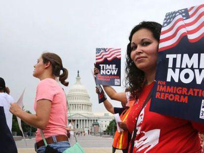 Protesto pela reforma migratória em Washington.