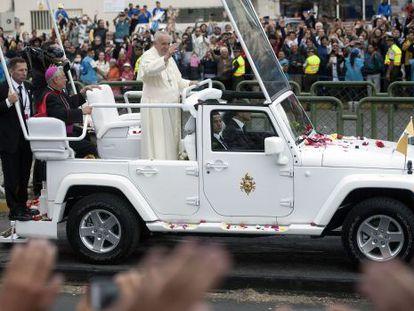 O Papa, no Parque Bicentenário, em Quito, na última terça-feira.