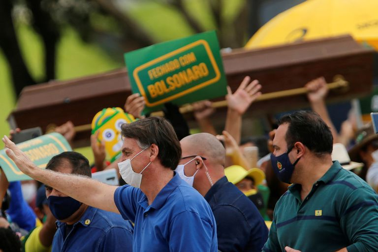 Presidente Jair Bolsonaro, durante um ato em Brasília.