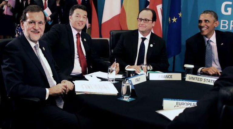 Mariano Rajoy, Matteo Renzi, Francois Hollande e Obama.