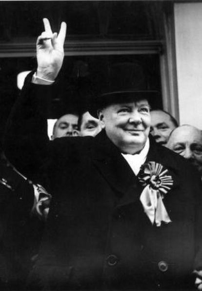 Winston Churchill durante a campanha eleitoral de 1949