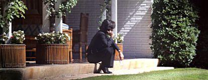 Ana Botín ontem na casa de seu pai.