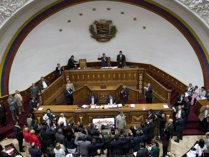 Sessão da Assembleia Nacional da Venezuela no dia 26 de janeiro em Caracas.
