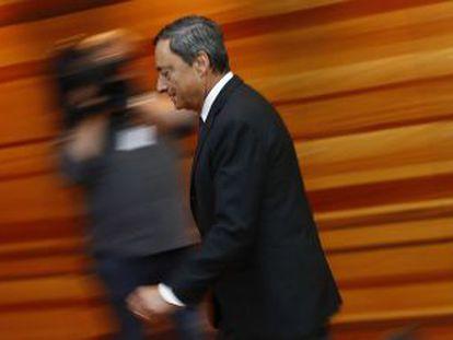 Mario Draghi depois da reunião do Conselho da instituição.