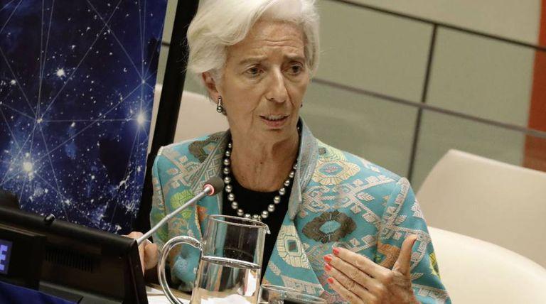 Christine Lagarde, diretora-gerente do FMI, durante apresentação semana passada na sede da ONU em Nova York.