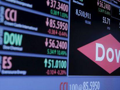 Logo da Dow Chemical em um painel da Bolsa de Nova York.