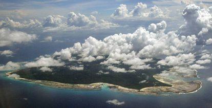 Imagem aérea da ilha de Sentinel do Norte.