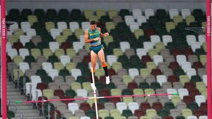 Thiago Braz em ação na final da Olimpíada.