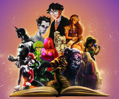 Alguns dos personagens protagonistas de fanfics, obra da ilustradora Stef Tastan.