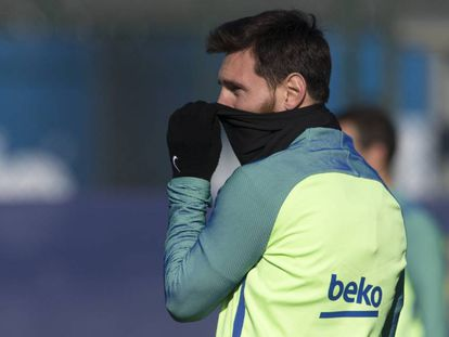 Leo Messi treina na última sexta.