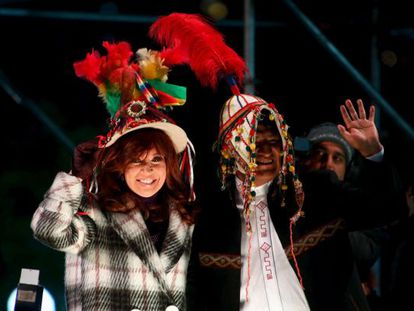 Cristina Kirchner e Evo Morales na quarta-feira em Buenos Aires.