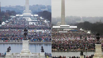 À esquerda, 'National Mall' durante a posse Trump; à la derecha, a manifestação deste sábado.