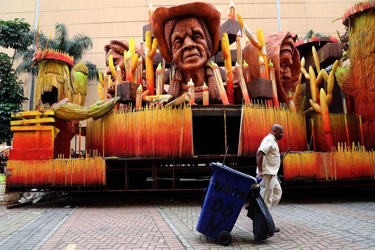 A cidade do samba, no Rio de Janeiro, vazia devido à pandemia.