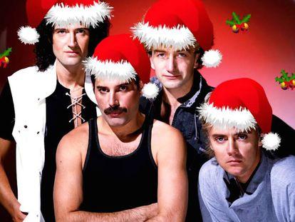 Queen é o grupo com mais hinos da história. Mas de sua canção de Natal ninguém se lembra. Na imagem, montagem natalina sobre foto dos quatro músicos.