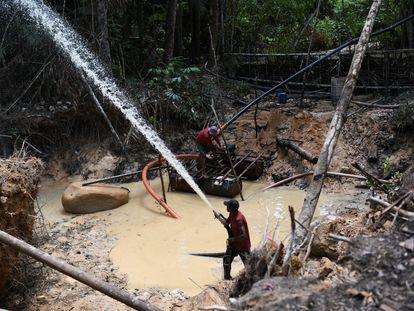 Garimpeiros trabalham na extração ilegal de ouro em Itaituba (PA), em 4 de setembro de 2021.