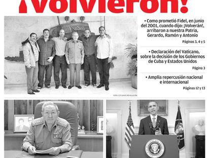 """""""Voltaram!"""", proclama o cubano 'Granma' na sua manchete histórica"""