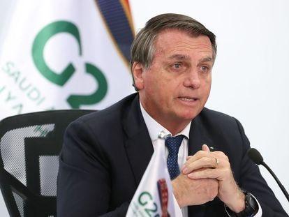 Jair Bolsonaro participa da reunião da Cúpula de Líderes do G20, em formato de teleconferência, no palácio do Planalto