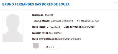 Registro do contrato de Bruno com o Montes Claros na CBF.