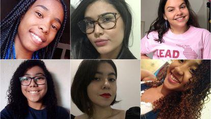 Em cima, da esquerda para a direita, as estudantes Kauani Beatriz, Camilly Lopes Maia e Catarina Parente. Em baixo, Kayllane Victoria da Silva, Alice Ramoa e Layane Souza.
