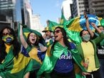 Supporters of far-right Brazilian President Jair Bolsonaro take part in a motorcade to protest against social distancing and quarantine measures, recommended by Sao Paulo's governor Joao Doria, following the coronavirus disease (COVID-19) outbreak, in Sao Paulo, Brazil, May 3, 2020. REUTERS/Amanda Perobelli