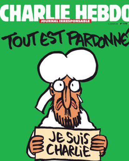 A capa do semanário depois do massacre em janeiro.