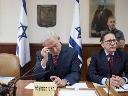 O primeiro-ministro israelense, Benjamin Netanyahu, na reunião do Governo do domingo.