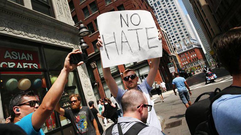 Protesto contra ativistas conservadores no dia 19 de agosto em Boston