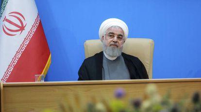 O presidente iraniano, Hasan Rohani, nesta terça-feira.