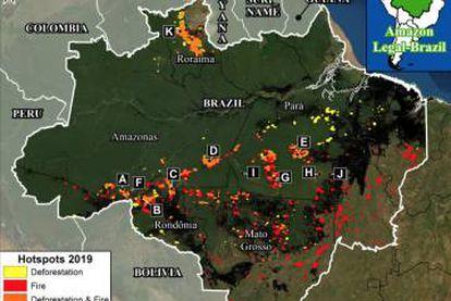 O mapa mostra a sobreposição de áreas de desmatamento e focos de incêndio na Amazônia em 2019. As áreas alaranjadas mostram que pelo menos 125.000 hectares (o equivalente a 172.000 campos de futebol) de floresta foram derrubados ao longo de 2019 e depois queimados em agosto.