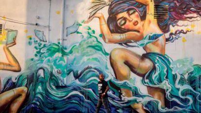 Grafites de vários artistas decoram os muros de Wynwood.