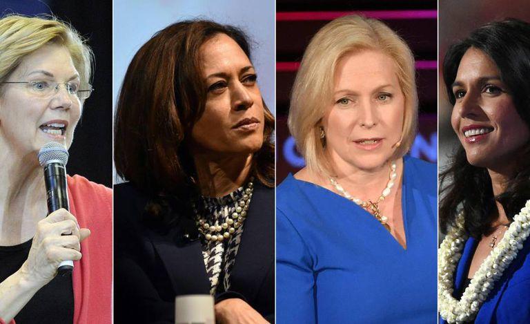 De esquerda à direita, Elizabeth Warren, Kamala Harris, Kirsten Gillibrand e Tulsi Gabbard.