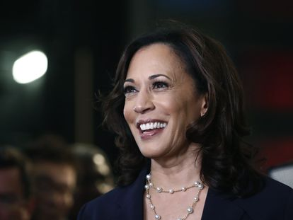 Kamala Harris durante as primárias democratas.